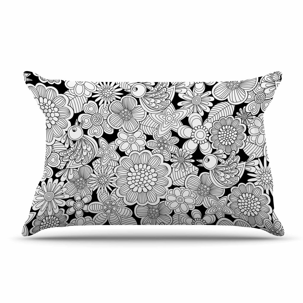 "Julia Grifol ""Welcome White Birds"" Black Floral Pillow Sham - KESS InHouse"