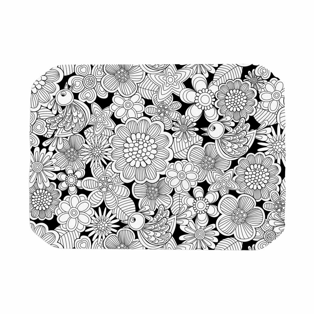 "Julia Grifol ""Welcome White Birds"" Black Floral Place Mat - KESS InHouse"