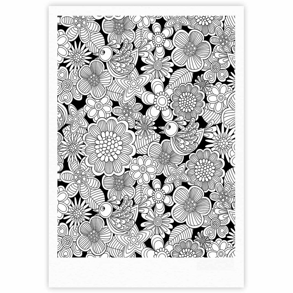 "Julia Grifol ""Welcome White Birds"" Black Floral Fine Art Gallery Print - KESS InHouse"