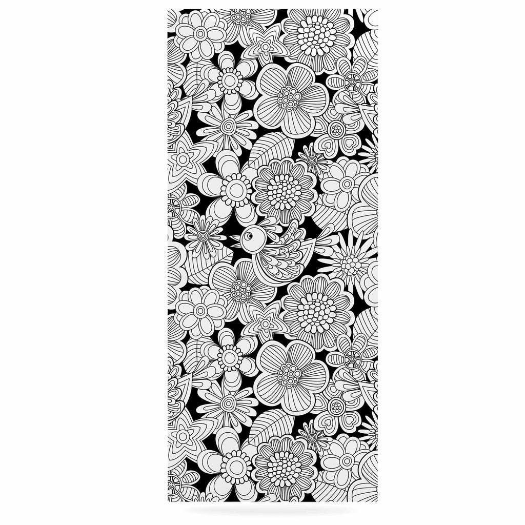 "Julia Grifol ""Welcome White Birds"" Black Floral Luxe Rectangle Panel - KESS InHouse  - 1"
