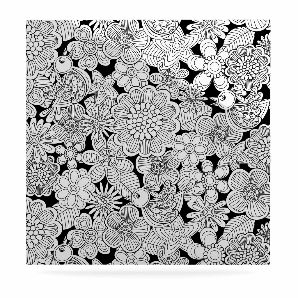 "Julia Grifol ""Welcome White Birds"" Black Floral Luxe Square Panel - KESS InHouse  - 1"