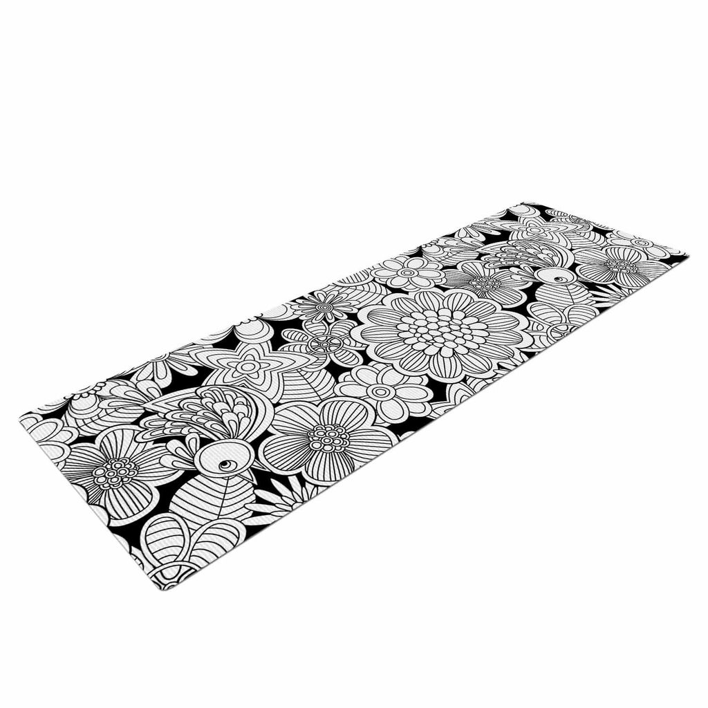 "Julia Grifol ""Welcome White Birds"" Black Floral Yoga Mat - KESS InHouse  - 1"