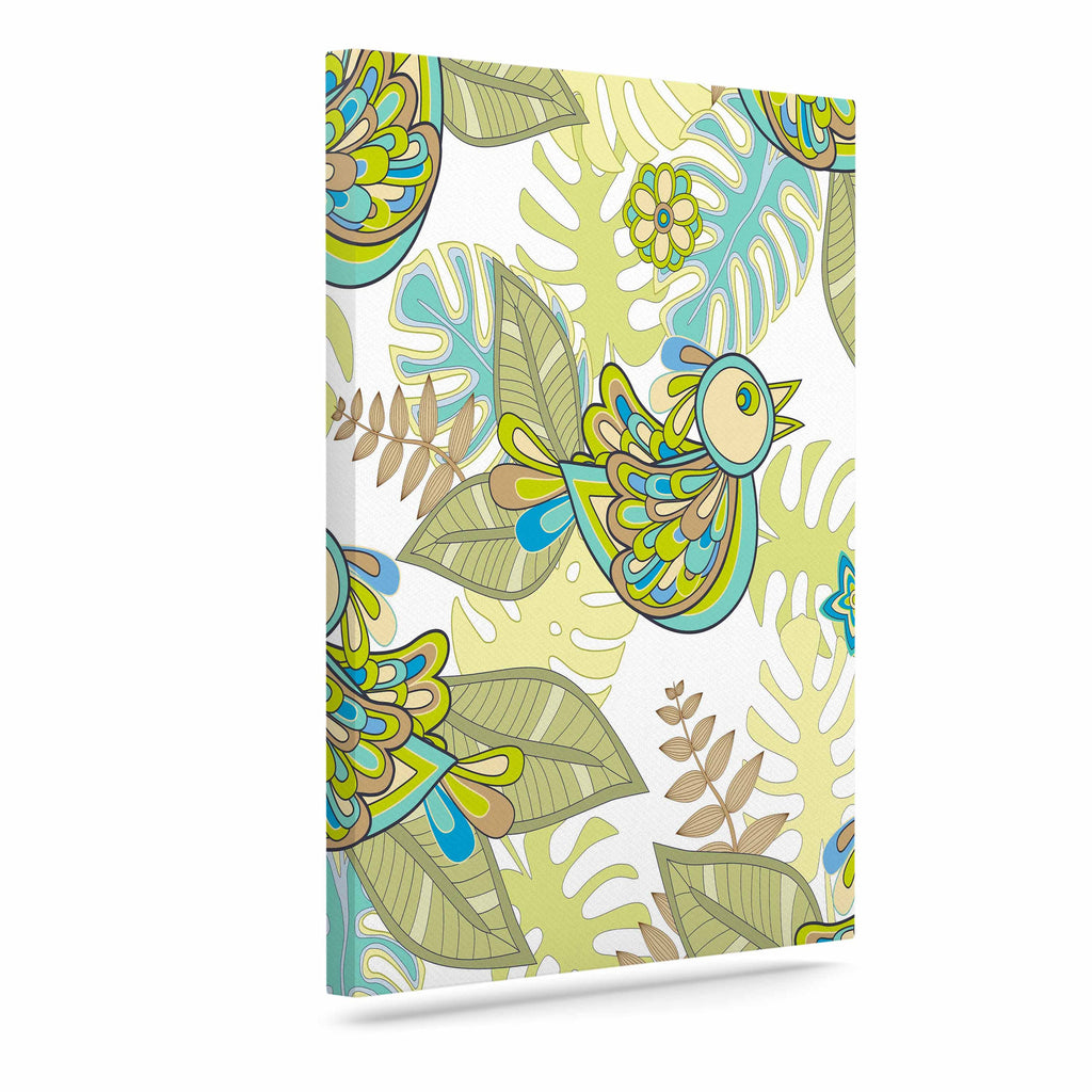 "Julia Grifol ""Summer Birds"" Green Lime Canvas Art - KESS InHouse  - 1"