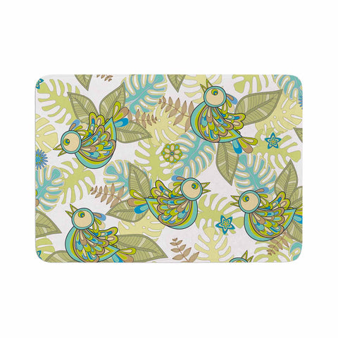 "Julia Grifol ""Summer Birds"" Green Lime Memory Foam Bath Mat - KESS InHouse"