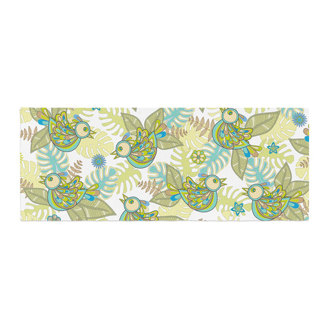 "Julia Grifol ""Summer Birds"" Green Lime Bed Runner - KESS InHouse"