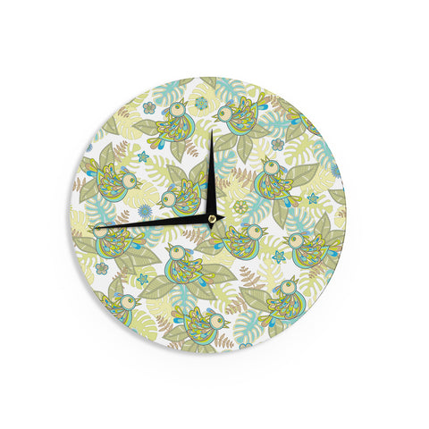 "Julia Grifol ""Summer Birds"" Green Lime Wall Clock - KESS InHouse"