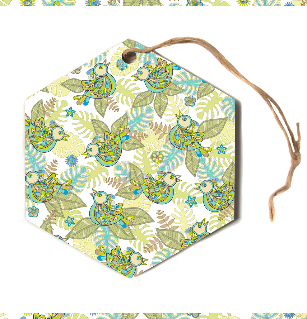 "julia grifol ""Summer birds"" Green Lime Hexagon Holiday Ornament"