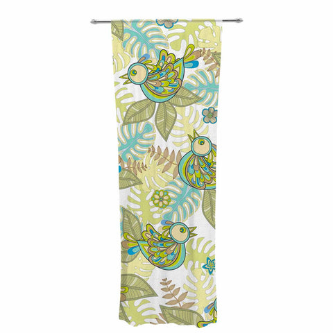 "Julia Grifol ""Summer Birds"" Green Lime Decorative Sheer Curtain - KESS InHouse  - 1"
