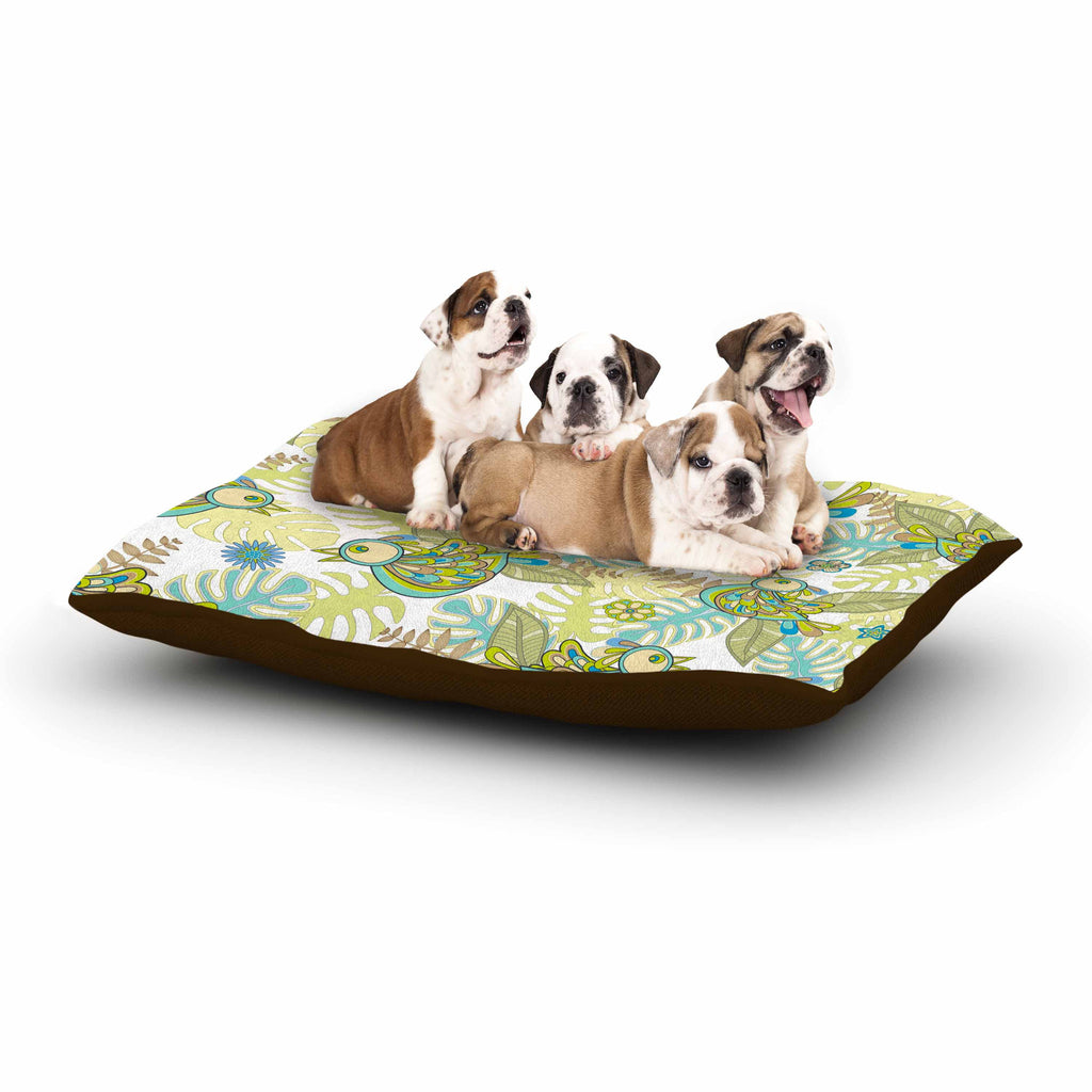 "Julia Grifol ""Summer Birds"" Green Lime Dog Bed - KESS InHouse  - 1"