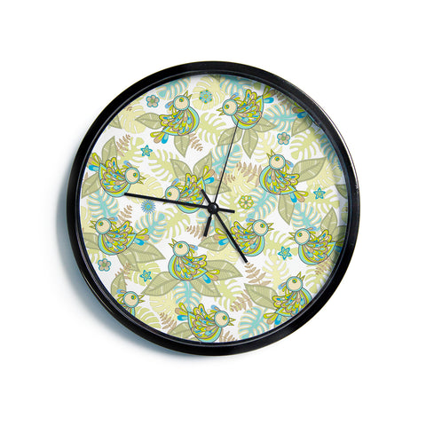 "Julia Grifol ""Summer Birds"" Green Lime Modern Wall Clock"