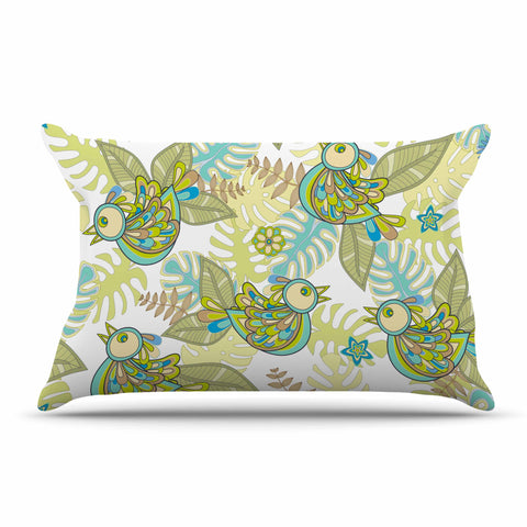 "Julia Grifol ""Summer Birds"" Green Lime Pillow Sham - KESS InHouse"