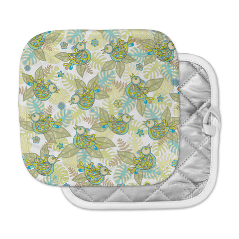 "Julia Grifol ""Summer Birds"" Green Lime Pot Holder"