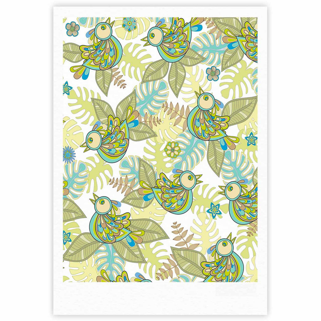 "Julia Grifol ""Summer Birds"" Green Lime Fine Art Gallery Print - KESS InHouse"