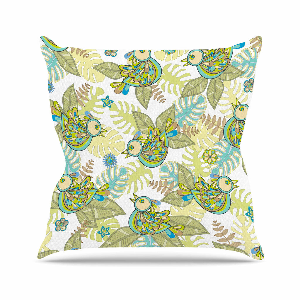 "Julia Grifol ""Summer Birds"" Green Lime Throw Pillow - KESS InHouse  - 1"