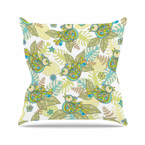 "Julia Grifol ""Summer Birds"" Green Lime Outdoor Throw Pillow - KESS InHouse  - 1"