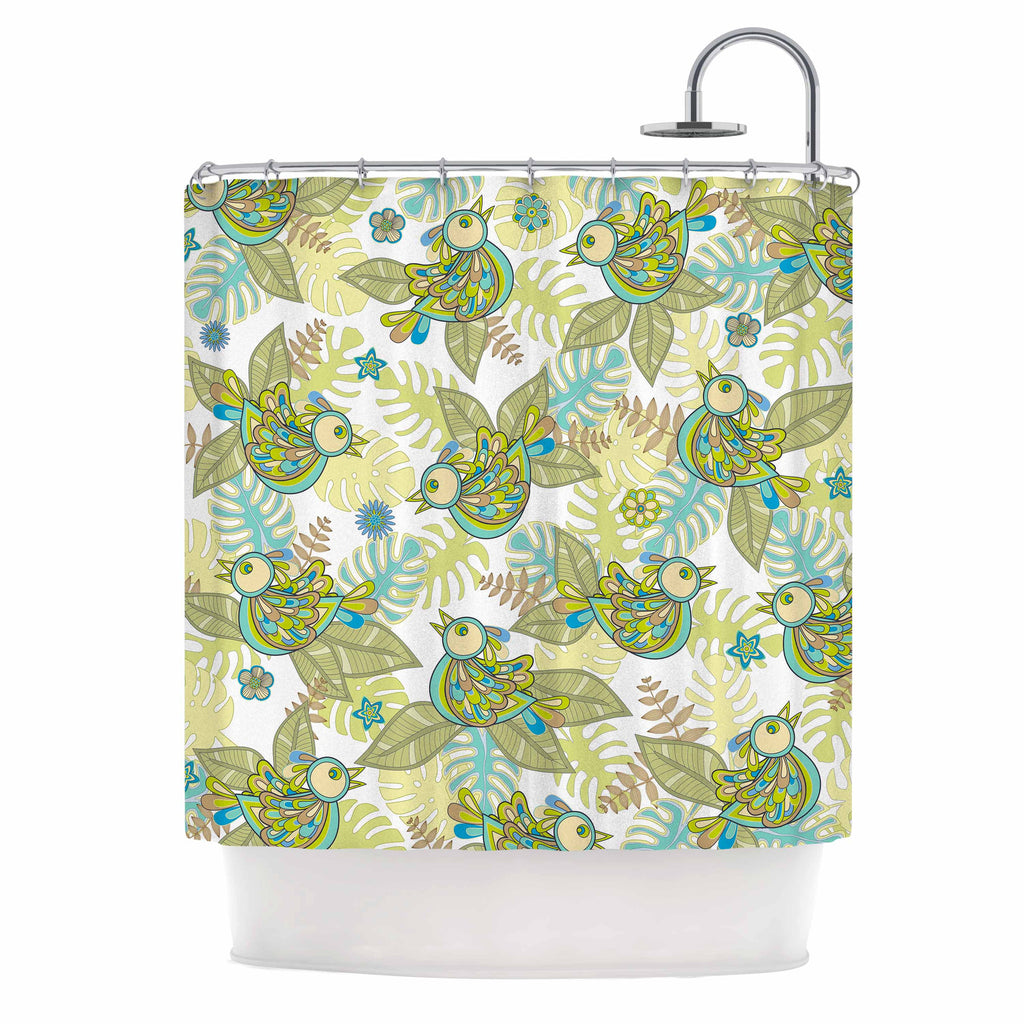"Julia Grifol ""Summer Birds"" Green Lime Shower Curtain - KESS InHouse"