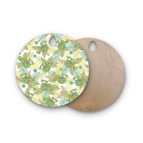 "Julia Grifol ""Summer Birds"" Green Lime Round Wooden Cutting Board"