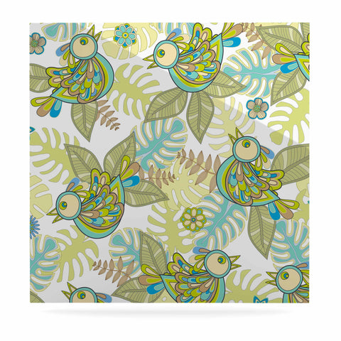 "Julia Grifol ""Summer Birds"" Green Lime Luxe Square Panel - KESS InHouse  - 1"