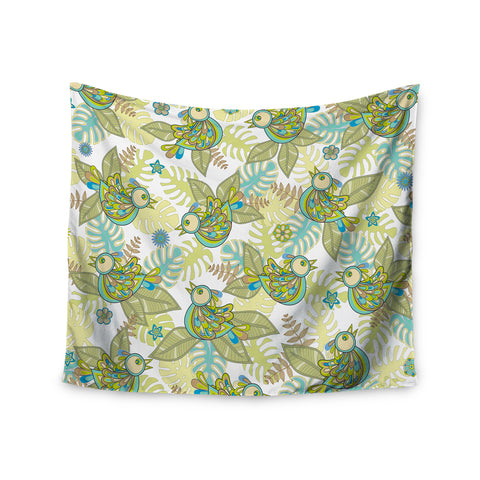 "Julia Grifol ""Summer Birds"" Green Lime Wall Tapestry - KESS InHouse  - 1"