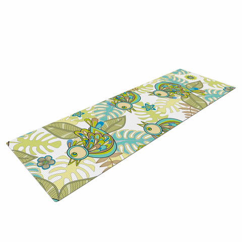 "Julia Grifol ""Summer Birds"" Green Lime Yoga Mat - KESS InHouse  - 1"