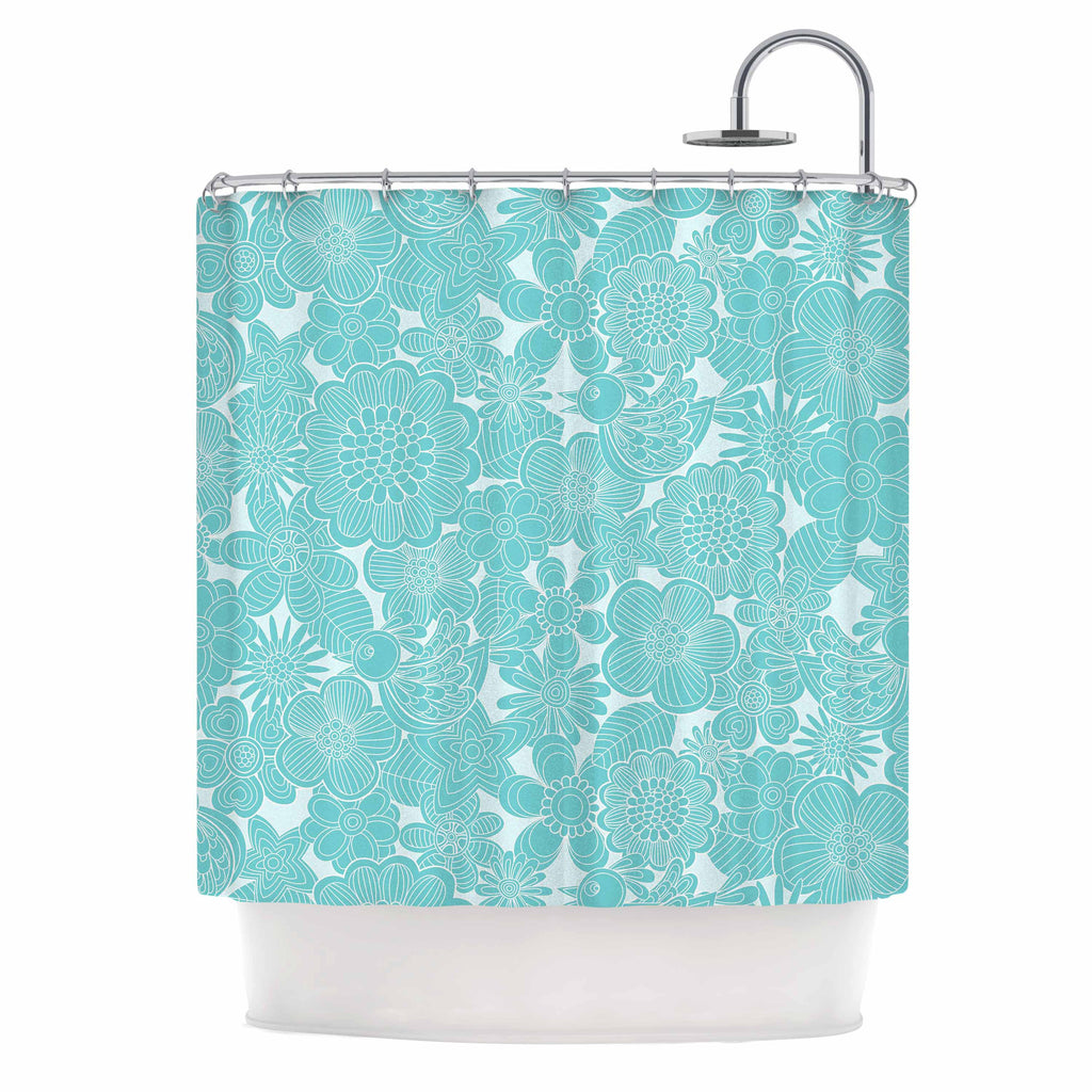 "Julia Grifol ""Turquoise Birds"" Aqua Blue Shower Curtain - KESS InHouse"