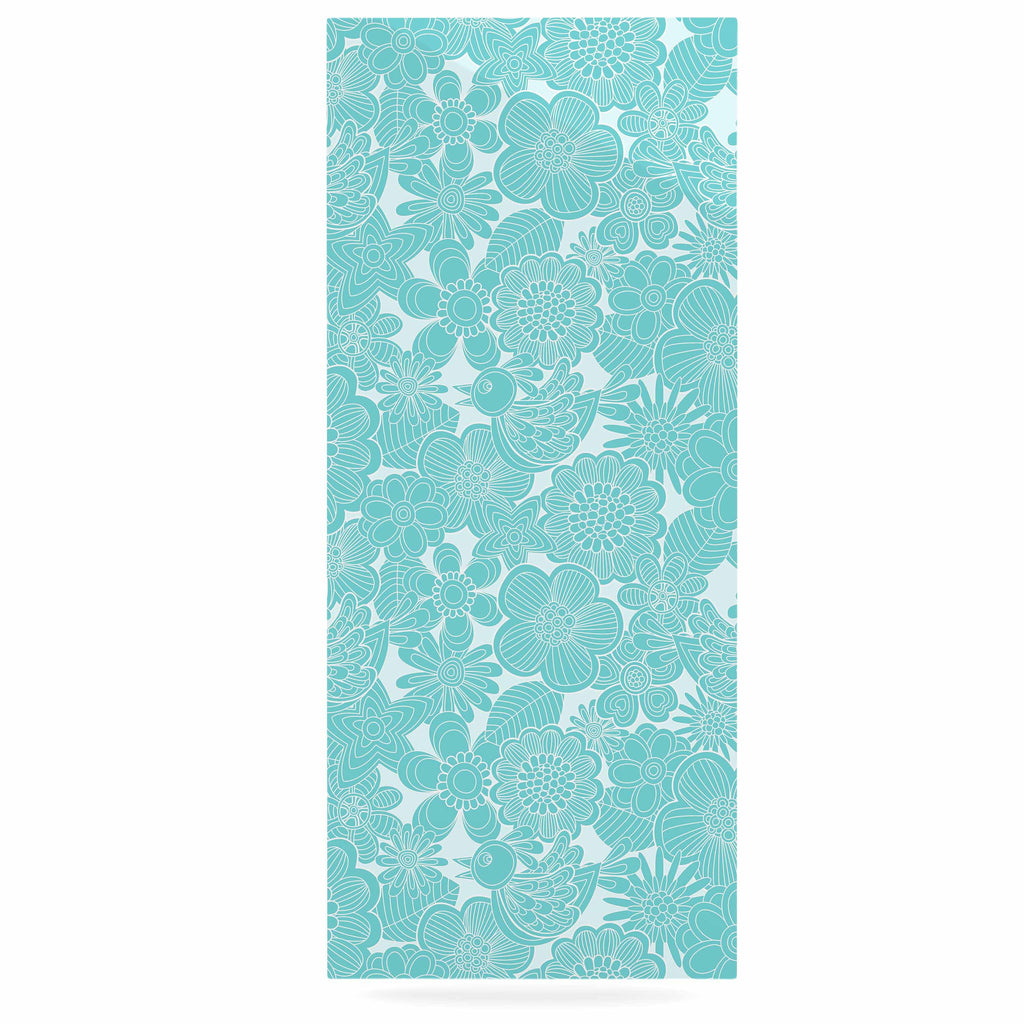 "Julia Grifol ""Turquoise Birds"" Aqua Blue Luxe Rectangle Panel - KESS InHouse  - 1"