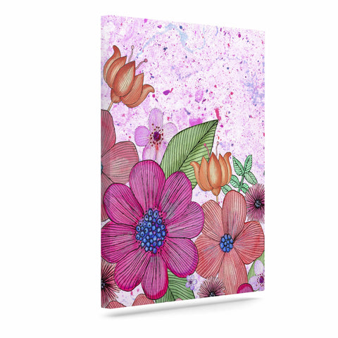 "Julia Grifol ""My Garden In Pink"" Magenta Floral Canvas Art - KESS InHouse  - 1"