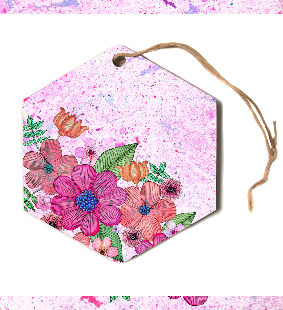 "julia grifol ""MY GARDEN In Pink"" Magenta Floral Hexagon Holiday Ornament"