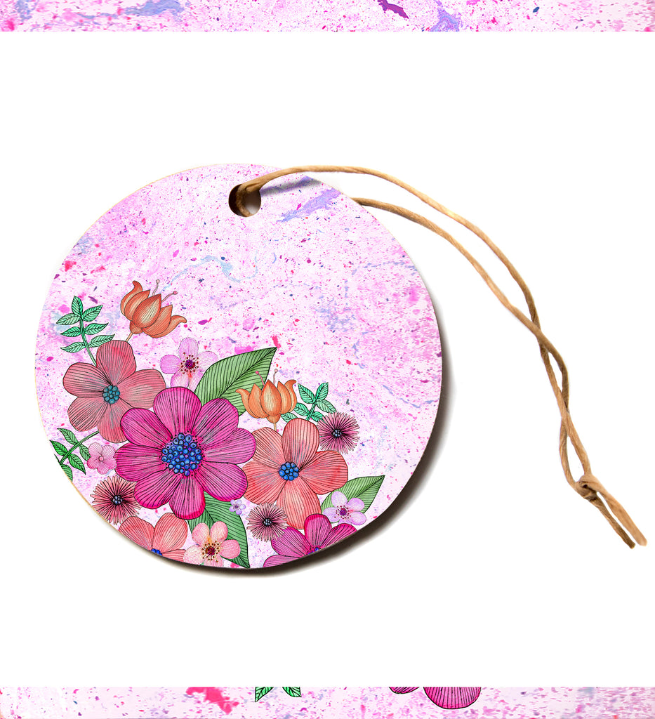 "julia grifol ""MY GARDEN In Pink"" Magenta Floral Circle Holiday Ornament"