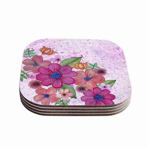 "Julia Grifol ""My Garden In Pink"" Magenta Floral Coasters (Set of 4)"
