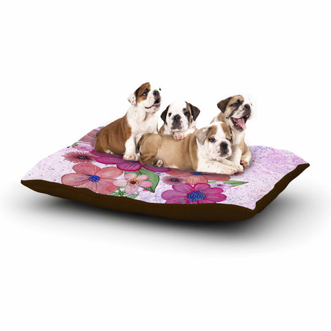 "Julia Grifol ""My Garden In Pink"" Magenta Floral Dog Bed - KESS InHouse  - 1"
