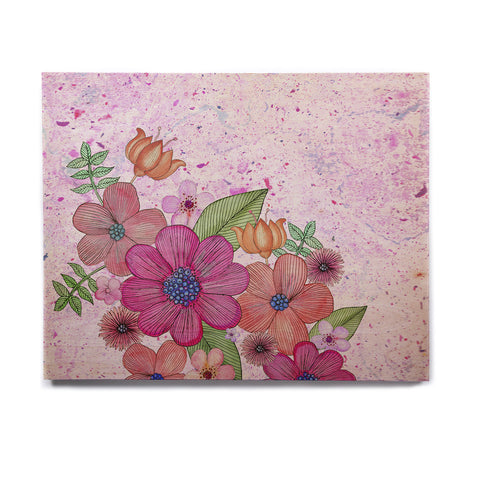 "Julia Grifol ""My Garden In Pink"" Magenta Floral Birchwood Wall Art - KESS InHouse  - 1"
