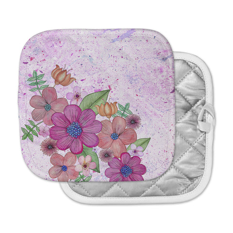 "Julia Grifol ""My Garden In Pink"" Magenta Floral Pot Holder"