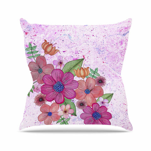"Julia Grifol ""My Garden In Pink"" Magenta Floral Throw Pillow - KESS InHouse  - 1"