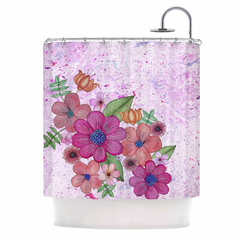"Julia Grifol ""My Garden In Pink"" Magenta Floral Shower Curtain - KESS InHouse"