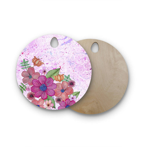 "Julia Grifol ""My Garden In Pink"" Magenta Floral Round Wooden Cutting Board"