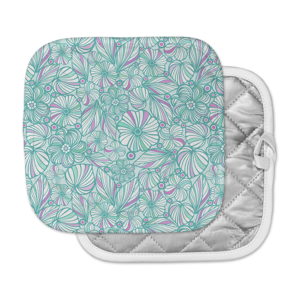 "Julia Grifol ""My Turquoise Flowers"" Teal Pink Pot Holder"