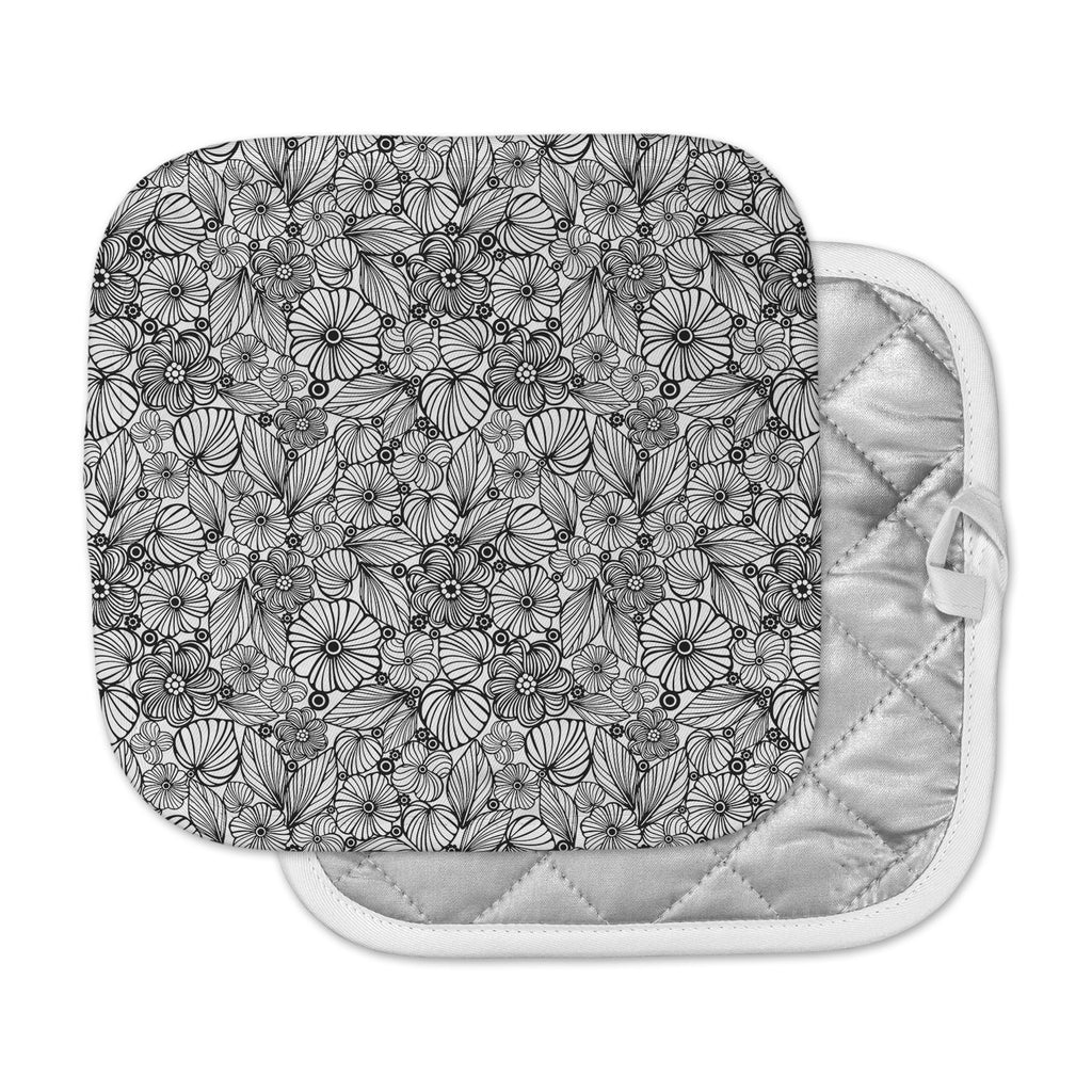 "Julia Grifol ""Candy Flowers In Black"" Gray White Pot Holder"