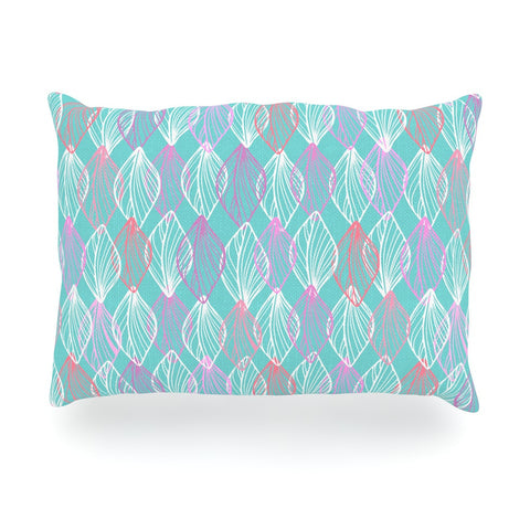 "Julia Grifol ""My White Leaves"" Pink Aqua Oblong Pillow - KESS InHouse"