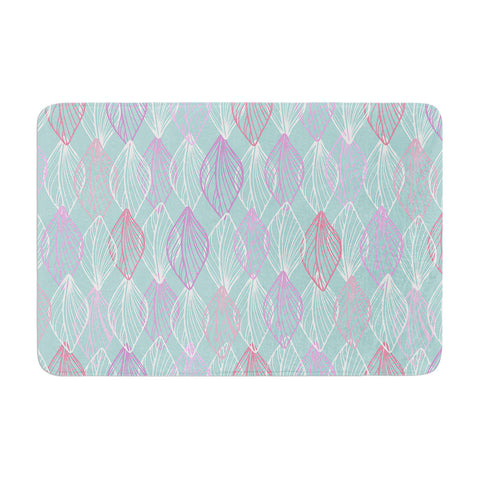 "Julia Grifol ""My White Leaves"" Pink Aqua Memory Foam Bath Mat - KESS InHouse"