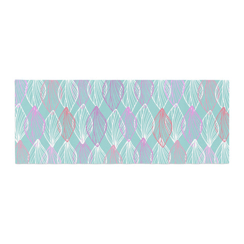 "Julia Grifol ""My White Leaves"" Pink Aqua Bed Runner - KESS InHouse"