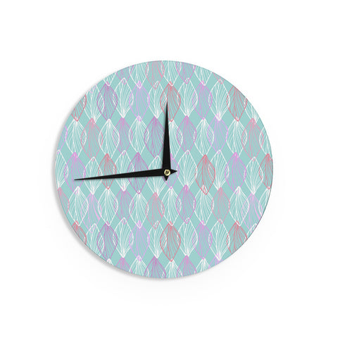 "Julia Grifol ""My White Leaves"" Pink Aqua Wall Clock - KESS InHouse"