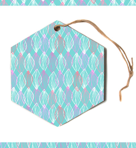 "julia grifol ""My White Leaves"" Pink Aqua Hexagon Holiday Ornament"