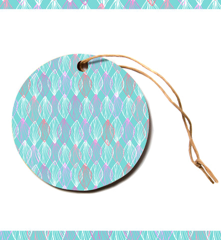 "julia grifol ""My White Leaves"" Pink Aqua Circle Holiday Ornament"