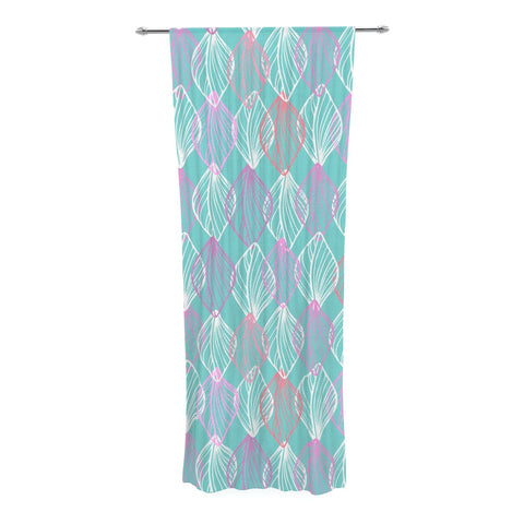 "Julia Grifol ""My White Leaves"" Pink Aqua Decorative Sheer Curtain - KESS InHouse  - 1"