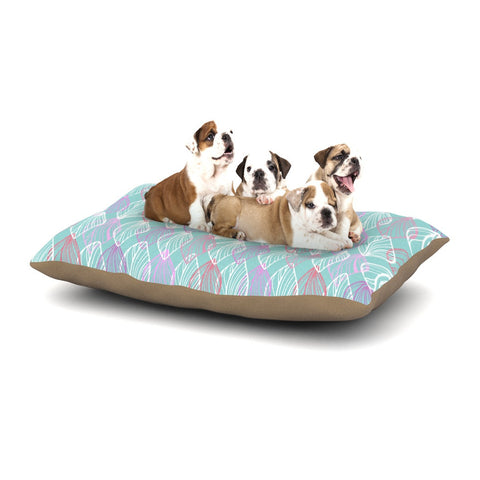 "Julia Grifol ""My White Leaves"" Pink Aqua Dog Bed - KESS InHouse  - 1"