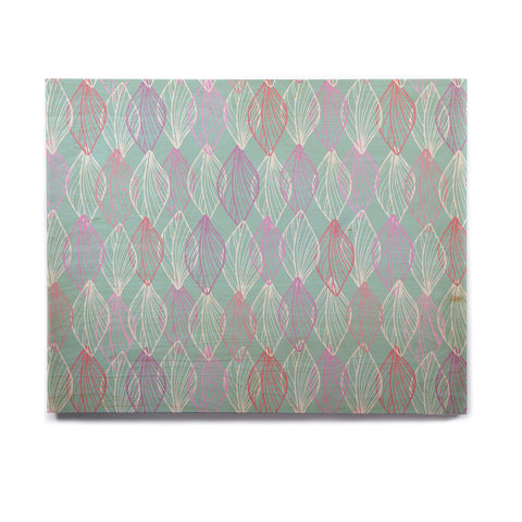 "Julia Grifol ""My White Leaves"" Pink Aqua Birchwood Wall Art - KESS InHouse  - 1"