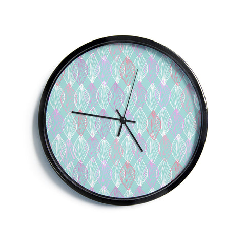 "Julia Grifol ""My White Leaves"" Pink Aqua Modern Wall Clock"