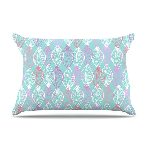 "Julia Grifol ""My White Leaves"" Pink Aqua Pillow Sham - KESS InHouse  - 1"