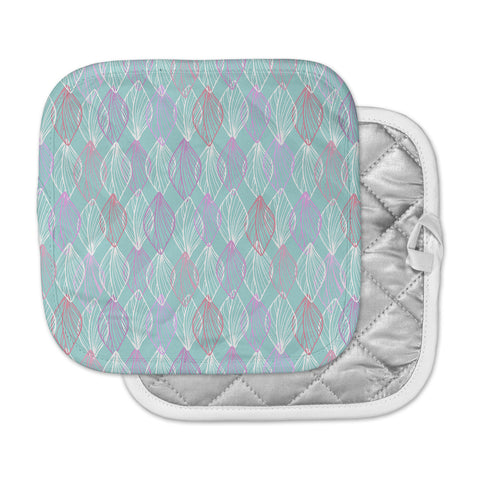"Julia Grifol ""My White Leaves"" Pink Aqua Pot Holder"